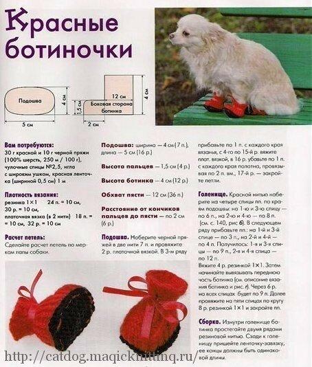 Связать спицами обувь для собаки